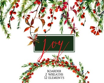 Christmas Watercolor Clipart Wreaths  Border Floral Clip Art New Year Watercolor Flowers Winter Wreath DIY Greeting Cards Printables Digital
