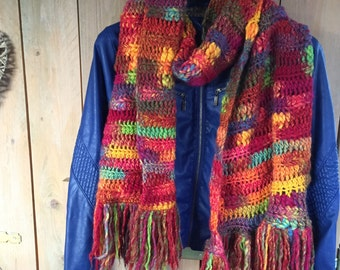 Crochet wool scarf