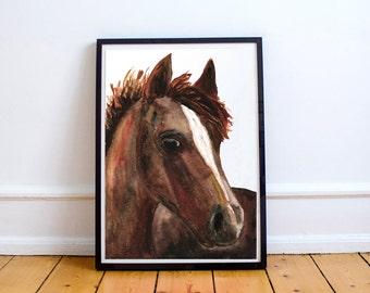 Watercolor Clip Art & Print - Chestnut Horse