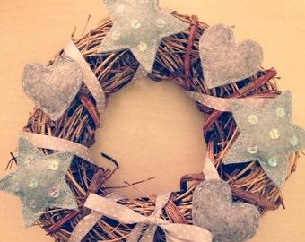 Grey and blue wool felt twig wreath