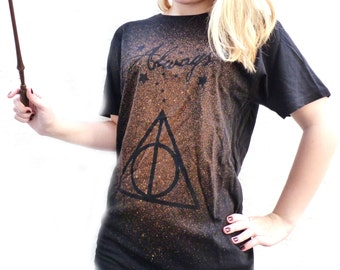 HAND-DESIGNED Harry Potter Inspired Deathly Hallows Custom T-Shirt Tumblr Bleach Always Magic Stars Sirius Snape After All This Time