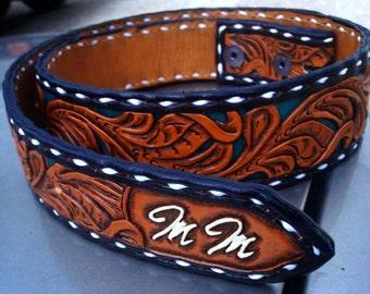 Buckstitched custom leather belt, Hand tooled leather belt, Custom belt, Western belt