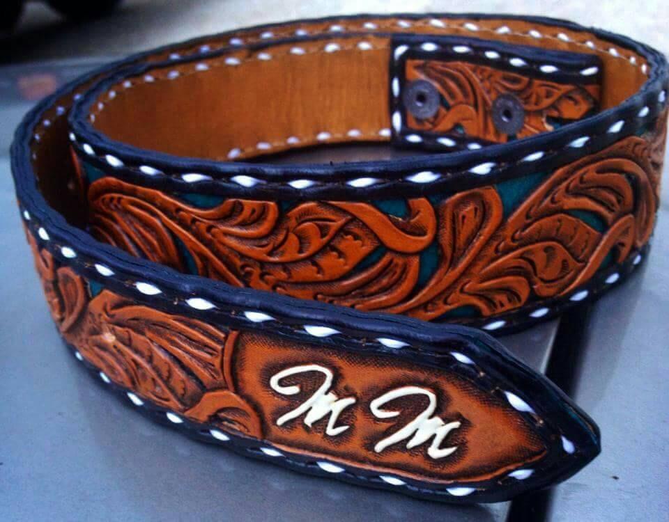 buckstitched custom leather belt tooled leather belt