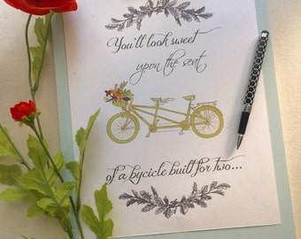 Bicycle Built for Two Printable