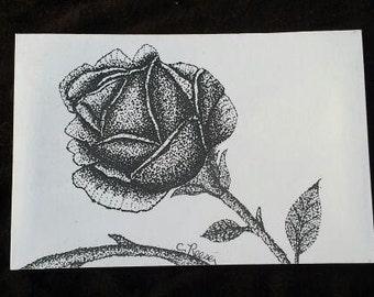 "Rose #3 - 4"" X 6"" Stippling print on cardstock."