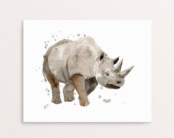Watercolor Rhino Painting, Rhino Print, Rhino Painting, Rhino Art, Rhino Splatter Print, Rhinoceros Printable, Watercolor Rhinoceros Decor