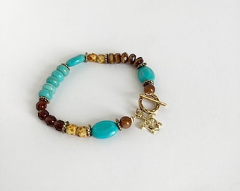 Turtle Charm Toggle Clasp Beaded Bracelet