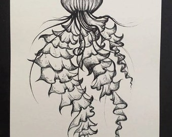 Sketchy Jellyfish - Black and White