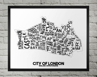 City of London England Wards Typography City Map Print