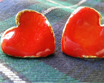 Red and Gold Enamel Earrings, Large and Shiny, 1980's