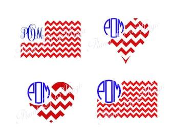 American Flag Monogram SVG, 4th of July SVG, Chevron Flag Svg, Patriotic Svg, Flag Dxf, Silhouette, Digital File, Cricut