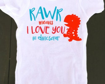 dinosaur onesie - rawr means i love you in dinosuar - baby onesie