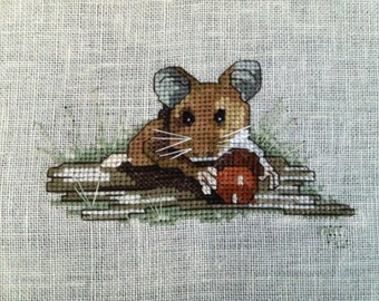 Handmade Country Mouse Cross Stich, Unframed