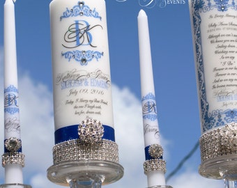 Something Blue Unity Candle and Memorial Candle Sets....Holders included, Unity candle, Memorial Candle, Church Wedding, Wedding Candles