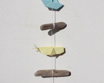 Mobile origami driftwood wall art pieces whales sailboats boat paper decoration gift