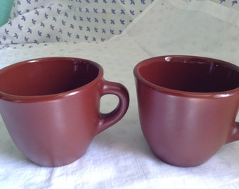Two Hand Made Clay Mugs