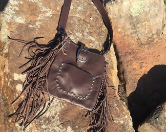 Small Brown Fringe Purse