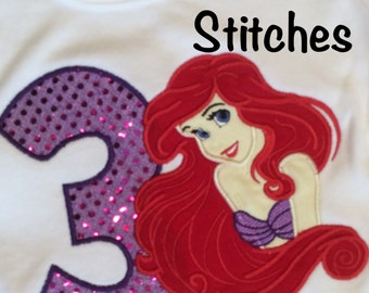 Appliqued Ariel Birthday Shirt