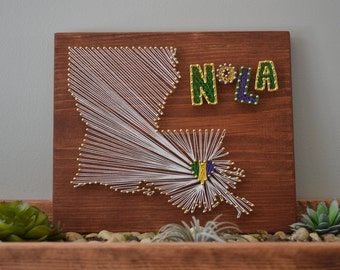 New Orleans NOLA Louisiana String Art, Mardi Gras String Art, Mardi Gras Art, Gallery Wall Decor, Fleur de lis, New Orleans Saints