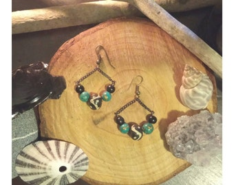 tribal and turquoise bead drop earrings