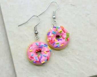 Strawberry Donut Earrings - Silver Toned Brass Earring Hook - Vintage Style - Dainty Dessert Jewelry