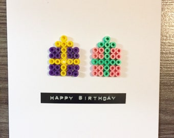 Handmade beaded presents Birthday card