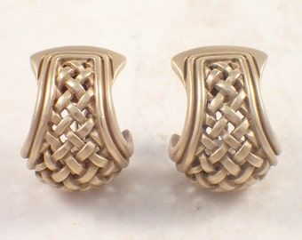 18K White Gold Kieselstein-Cord Hoop Earrings