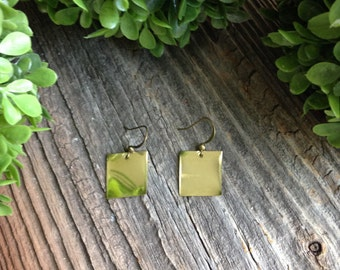 Custom Engraved Brass Earrings