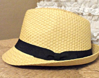 Straw Fedora at with Black Band
