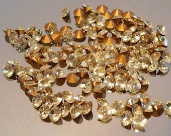 Vintage Swarovski yellow jonquil crystal rhinestone chatons pointed back, yellow crystals, rhinestones, beading supplies