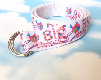 Childs Belt - Girls Belt - Toddler Belt - Big Sister Belt - Ribbon Belt - White Belt - Big Sister Gift - Age 1-3