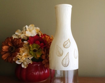 Recycled Glass Leaf Vase /  Painted Wine Bottle in White / Upcycled Clear Glass / Scratch Art Vase / Housewarming Gift / White Vase