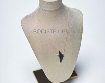 Black Tourmaline Pendant- Raw Tourmaline Necklace- Simple Layering Necklace- Boho / Minimalist / Cool jewelry by Societe Urbane SU015