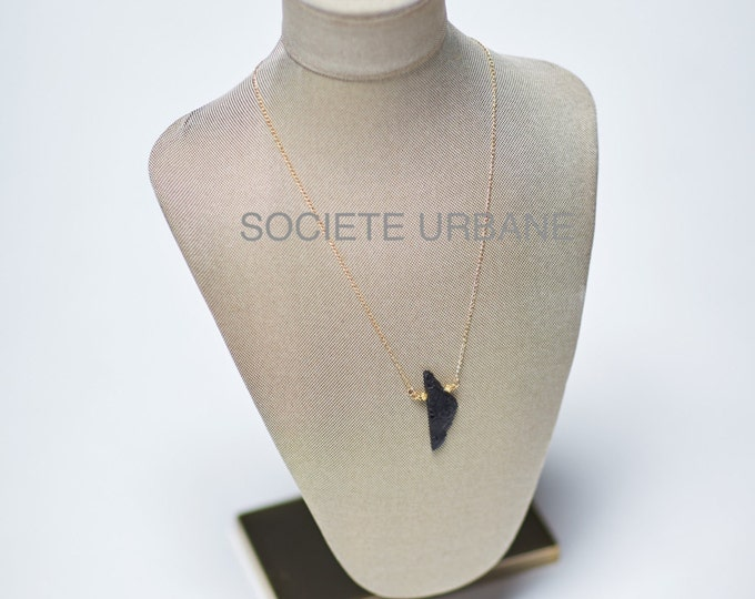 Featured listing image: Black Tourmaline Necklace-Pendant-Layering Necklace, Raw Tourmaline, Gift for her Boho / Minimalist / Cool Jewelry By Societe Urbane SU015