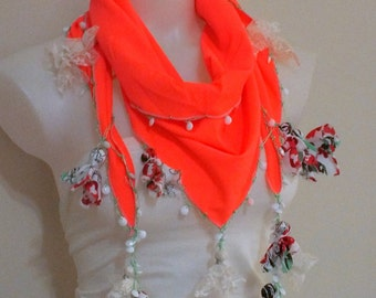 Oya crochet scarf Neon scarf Flower scarf Crochet scarf Women accessories  Spring accessories Summer accessories Gift for her Boho