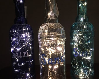 Lighted colored bottles, set of 3