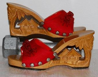 vintage carved shoes, red shoes, wood platform, Philippine carved shoe, wood mules