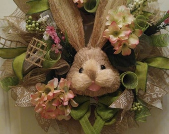 Easter bunny mesh wreath spring