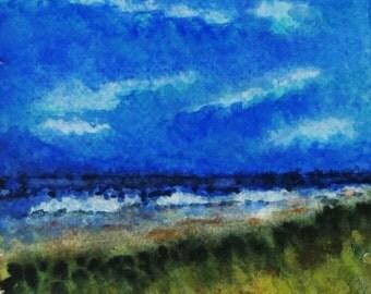 Sea Landscape, Watercolor Painting, Original Small Art, Coastal Watercolor, Fine Art, Blue Clouds, Beach Art, Ocean Waves, Wall Art, Seashore
