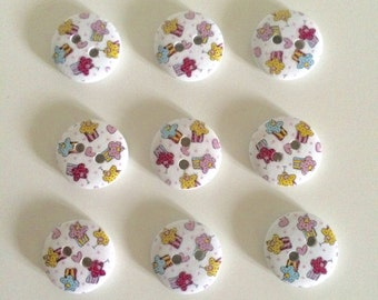 20 Cake Buttons ~ Cupcake Buttons ~ Wooden Buttons ~ Cake Embellishments ~ Card Making ~ Scrapbooking ~ Sewing