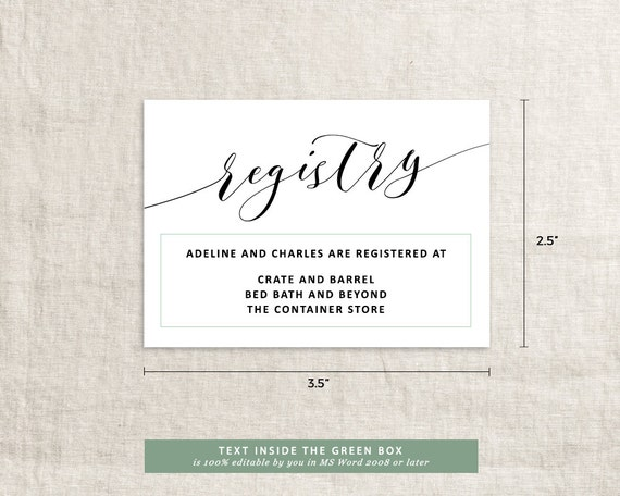 Wedding Gift Registry Website: Printable Wedding Registry Card Wedding By PipkinPaperCompany