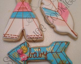 Hand Painted Boho Baby Cookies