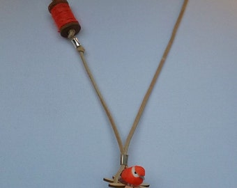 Necklace blue and orange ,with leather