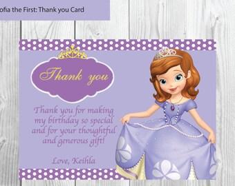 Sofía la primera tarjeta de gracias * fiesta de cumpleaños para imprimir * Custom personalizada tarjeta Digital de gracias * Sofia Sofía