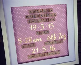 Scrabble frame - Birth announcement (large)