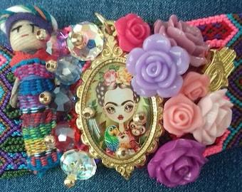 Woven Worry Doll and Frida Kahlo Bracelet