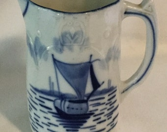 Antique Hand Painted Blue and White Boat scene Pitcher