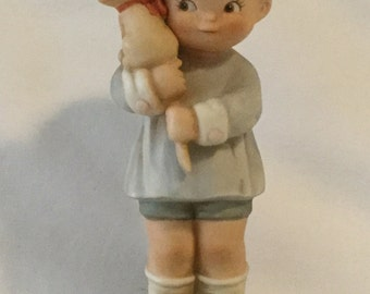 """1987 Enesco Memories of Yesterday """" Hang On To Your Luck"""" Ceramic Figurine"""