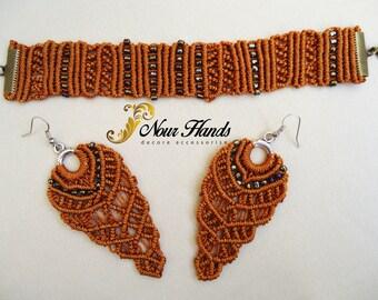 Handmade macrame beaded bracelet and earrings