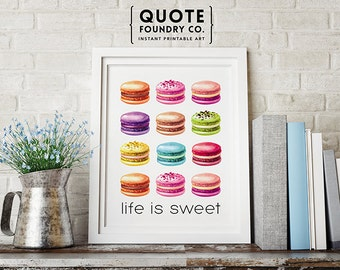 Life Is Sweet Print // Cute & Colorful Watercolor Macaroon Wall Decor Print, Last Minute Kitchen Housewarming Gift 8x10 - INSTANT DOWNLOAD
